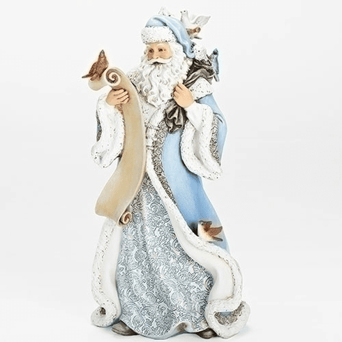 "Joseph Studio Christmas 14""H Santa Claus in Blue with Birds Statue by Roman Inc"