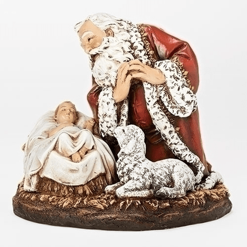 "Joseph Studio Christmas 7.75""H Santa Claus with Sleeping Baby Jesus Christ Statue by Roman Inc"