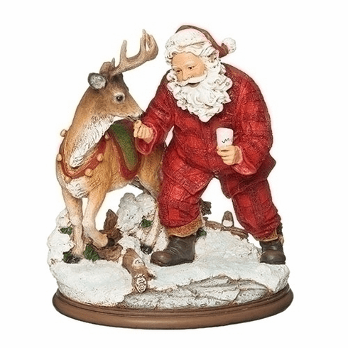 Joseph Studio Christmas Santa Claus with Deer, Milk and Cookies Statue by Roman Inc