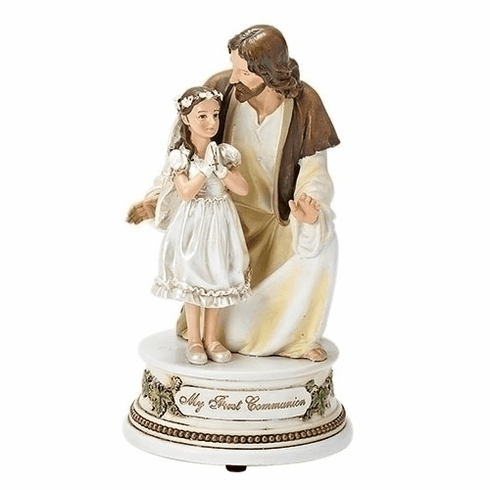 Joseph Studio Holy Communion Kneeling Jesus with Boy Musical Figure Statue by Roman Inc