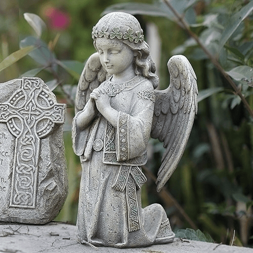 "Joseph Studio Irish Celtic Kneeling Angel 12.25""H Garden Statue by Roman"