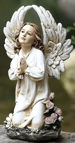 Joseph Studio Kneeling Praying Angel with a Roses Garden Statue