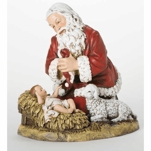 "Joseph Studio 13"" Kneeling Santa w/Baby Jesus and Lamb Figure"