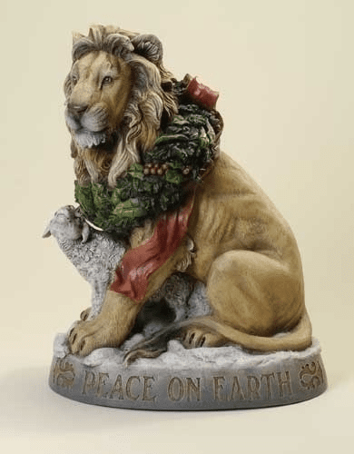 "Joseph Studio ""Peace on Earth"" Lion and Lamb Christmas Statue"