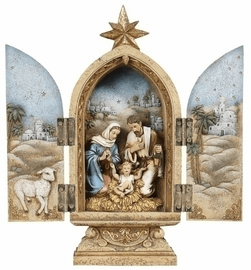 Joseph Studio Religious Holy Family Nativity Triptych Statue by Roman