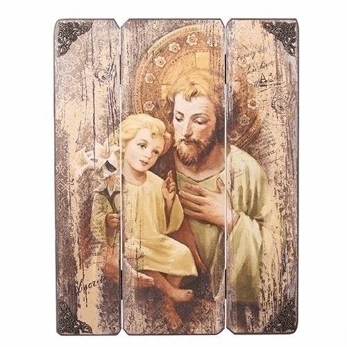Joseph Studio Saint Joseph and Child Jesus Plaque by Roman Inc