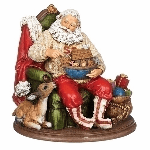 Joseph Studio Santa Claus Sitting in Chair Holding Noahs Ark Statue by Roman Inc