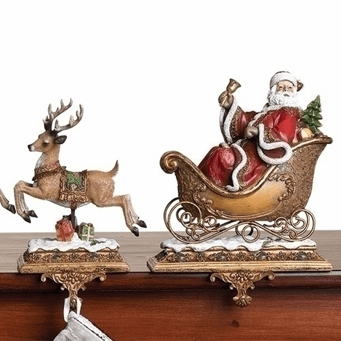 Joseph Studio Santa Claus w/Reindeer Christmas Stocking Holder