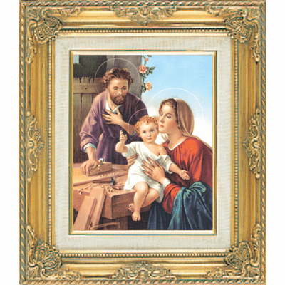 Joseph the Carpenter w/Holy Family with Gold Framed by Cromo N B Milan Italy