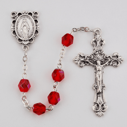 July Ruby Birthstone Crystal Prayer Rosary w/Scallop Miraculous by McVan