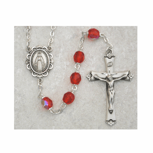 July Ruby Birthstone Crystal Sterling Silver Prayer Rosary by McVan