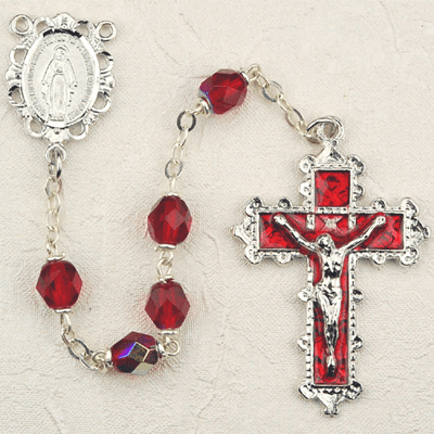 July Ruby Crystal Birthstone Prayer Rosary by McVan