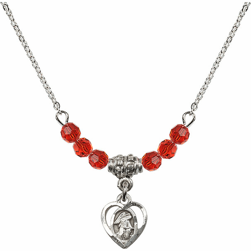 July Ruby Guardian Angel Heart Charm with 6 Crystal Bead Necklace by Bliss Mfg