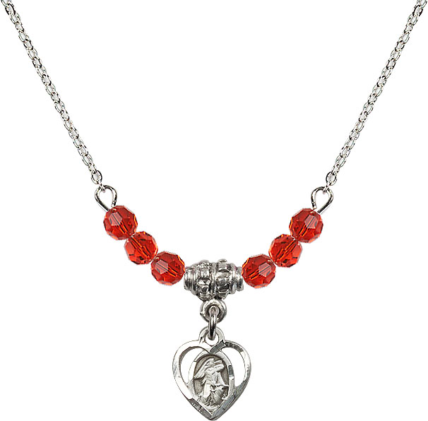 July Ruby Guardian Angel Heart Charm with 6 Crystal Bead