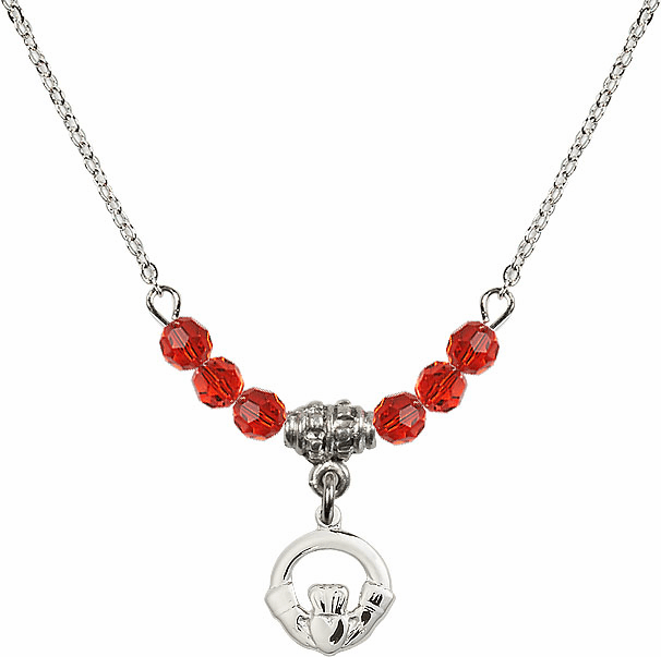 July Ruby Irish Claddagh Charm with 6 Crystal Bead Necklace by Bliss Mfg