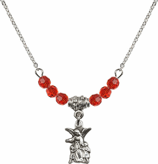 July Ruby Littlest Angel Charm with 6 Crystal Bead Necklace by Bliss Mfg