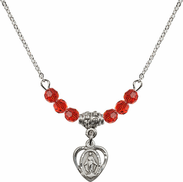 July Ruby Miraculous Heart Charm with 6 Crystal Bead Necklace by Bliss Mfg