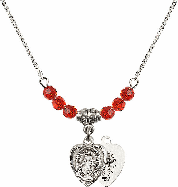 July Ruby Miraculous Heart Shaped Charm with 6 Crystal Bead Necklace by Bliss Mfg