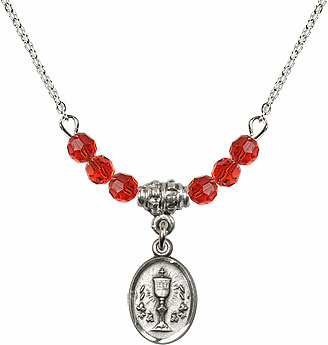 July Ruby Oval Chalice Charm Crystal Bead Necklace by Bliss Mfg