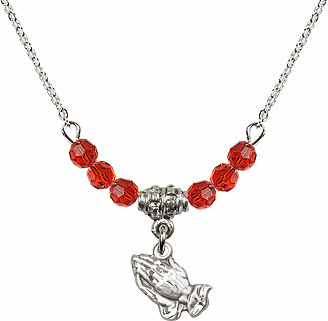 July Ruby Praying Hands Charm with 6 Crystal Bead Necklace by Bliss Mfg