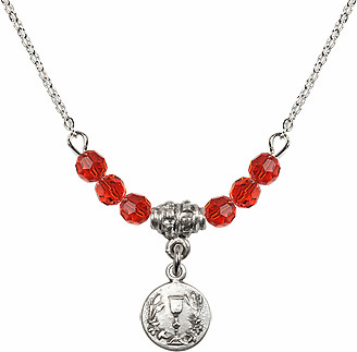 July Ruby Round Chalice Charm with 6 Crystal Bead Necklace by Bliss Mfg
