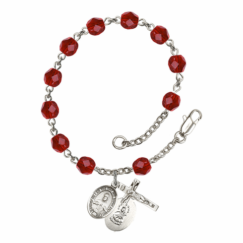 July Ruby Sacred Heart of Jesus Scapular Birthstone Rosary Bracelet by Bliss