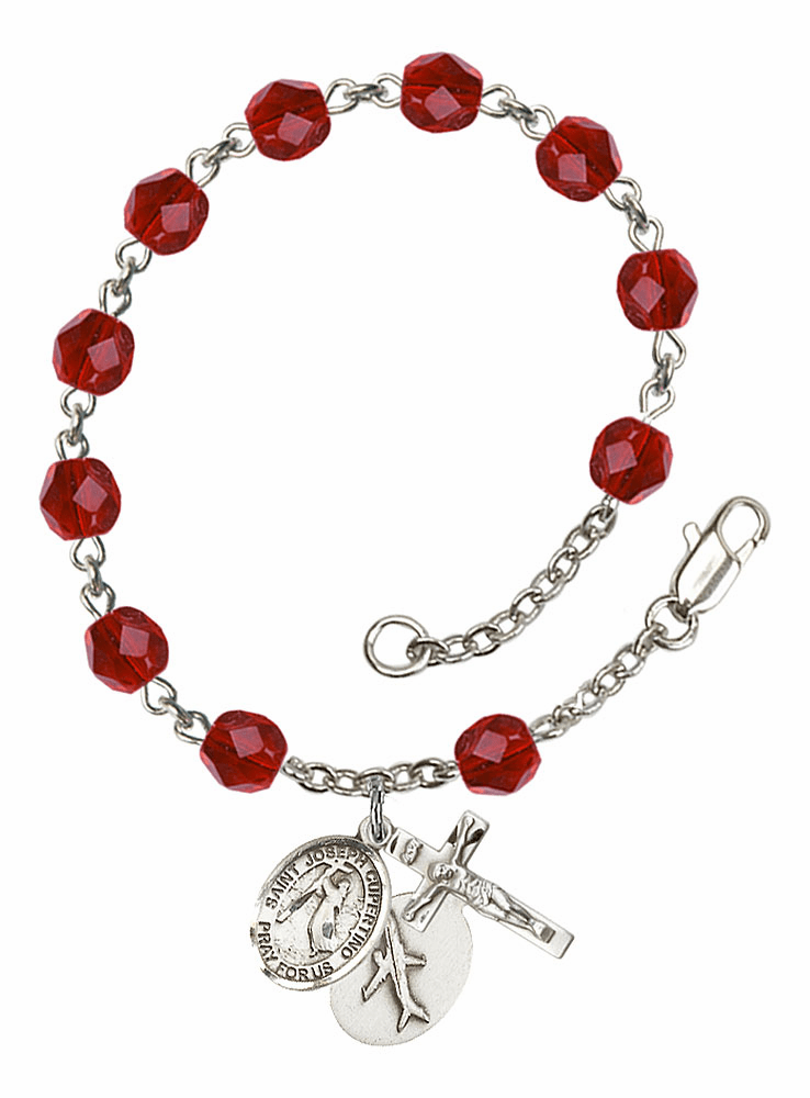 July Ruby St Joseph of Cupertino Airplane Birthstone Rosary Bracelet by Bliss