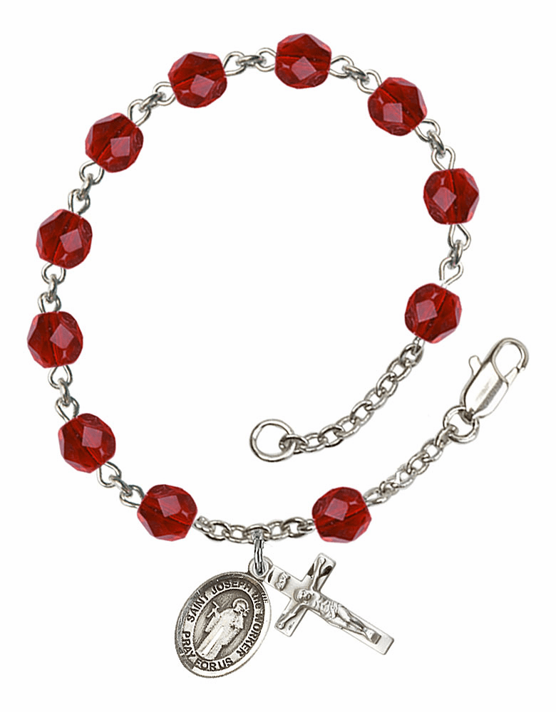 July Ruby St Joseph the Worker Birthstone Rosary Bracelet by Bliss