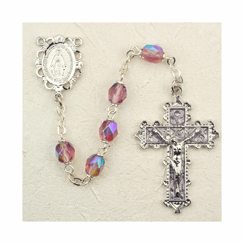 June Amethyst Crystal Birthstone Prayer Rosary by McVan