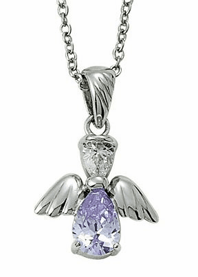 June Birthstone Angel Wing Sterling Silver Necklace