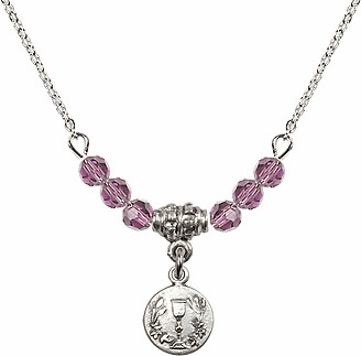 June Lt Amethyst Round Chalice Charm Crystal Bead Necklace by Bliss Mfg