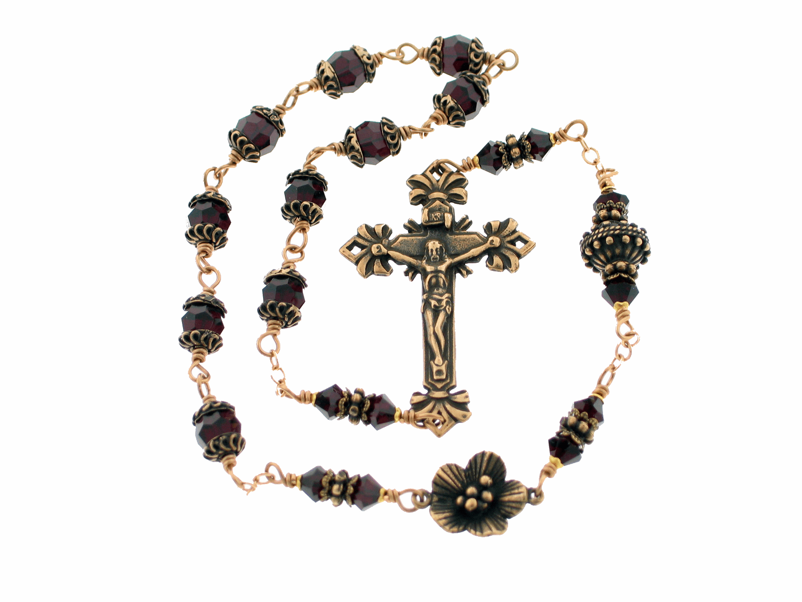 Kant-Tangle Bronze Birthstone Swarovski Crystal Garnet Pocket Rosary