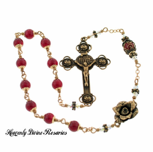 Kant-Tangle Bronze Rose Red Quartz and Swarovski Crystal Pocket Rosary