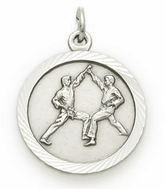 Singer Karate Sterling Silver Pendant Necklace with Cross on Back