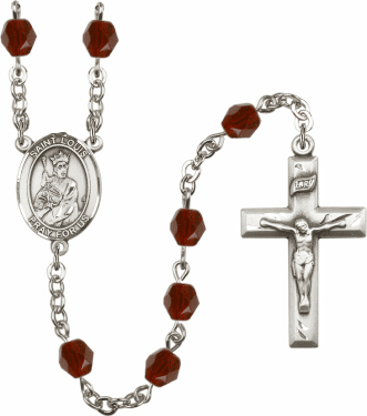 King St Louis IX Silver Plate Birthstone Crystal Prayer Rosary by Bliss