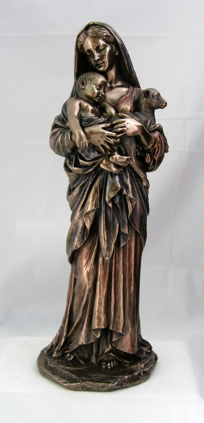 L'innocence Madonna and Child w/Lamb Cold-Cast Bronze Statue by Veronese Collection