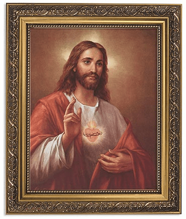 La Fuente Sacred Heart of Jesus Framed Print Picture with Gold Frame by Gerffert