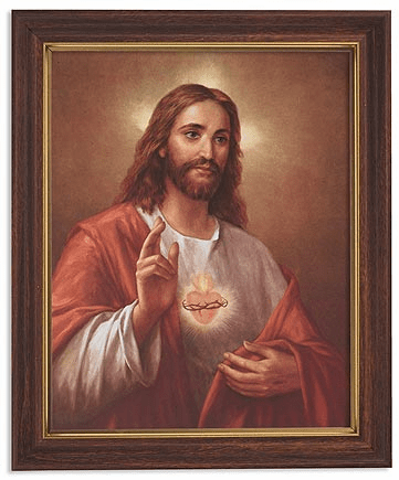 La Fuente Sacred Heart of Jesus Framed Print Picture with Woodtone Frame by Gerffert