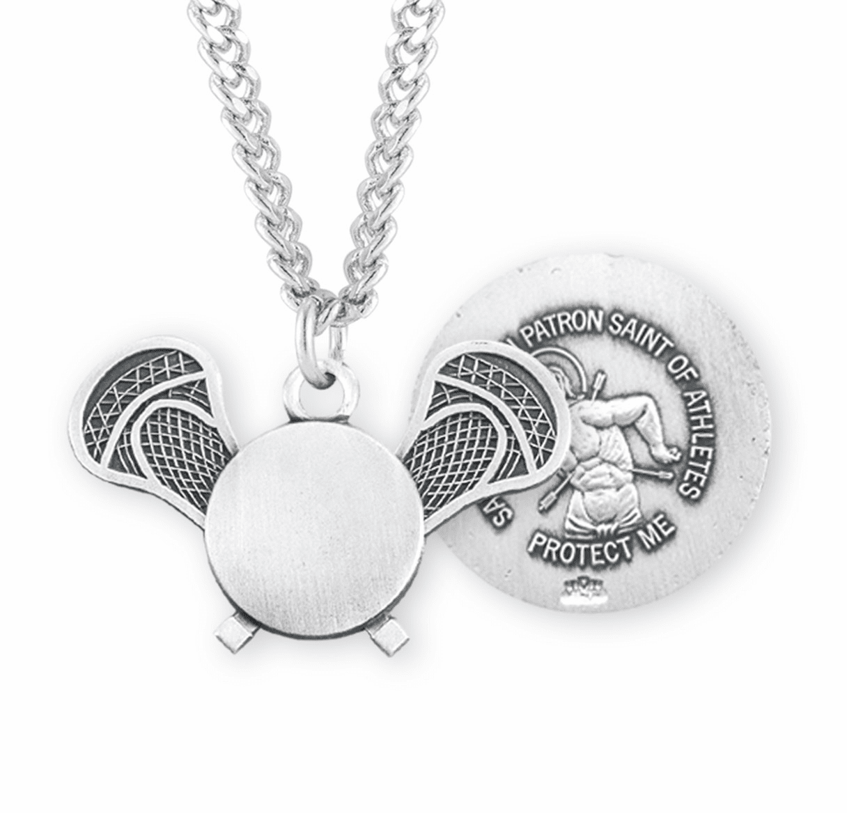 HMH Religious Lacrosse St Sebastian Sports Sterling Silver Necklace