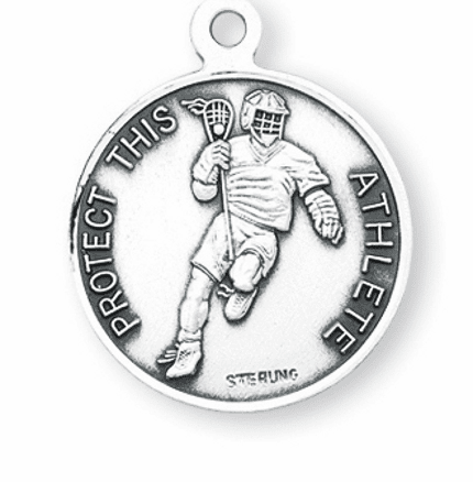 Lacrosse St Sebastian Sterling Silver Sports Necklace by HMH Religious