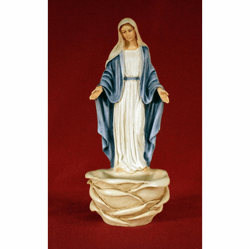 Lady of Grace Alabaster Holy Water Font Made in Italy