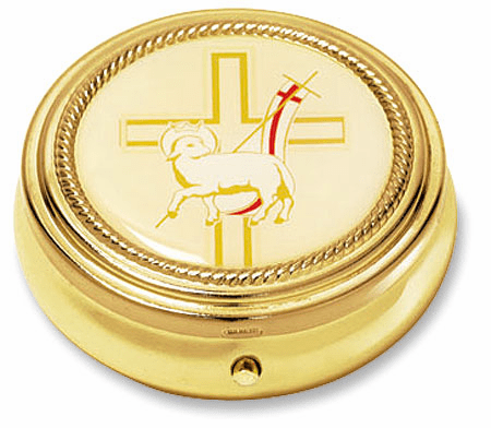 Lamb of the Cross Eucharist Pyx with Epoxy Lid Gold Finished 3pc Sets