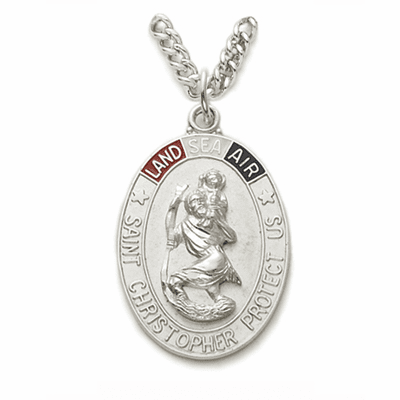 Land, Sea & Air Sterling Tri-Color St Christopher Military Necklace by Singer