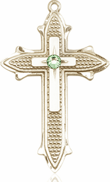 Large 14kt Gold Birthstone Crystal August Peridot Double Detailed Fancy Cross Necklace by Bliss