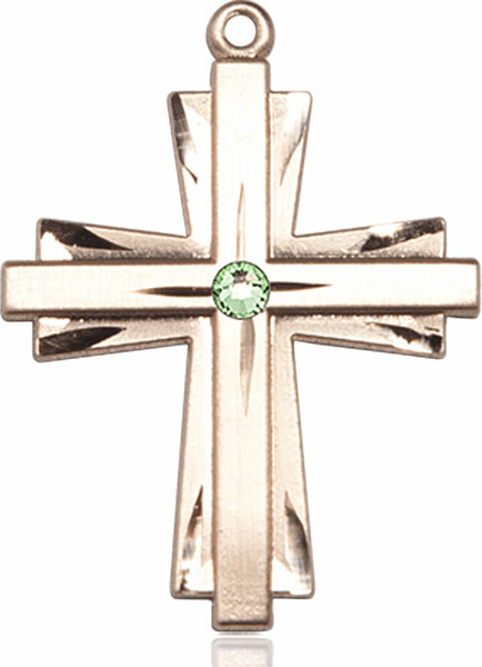 Large 14kt Gold Birthstone Crystal August Peridot Double Etched Cross Necklace by Bliss