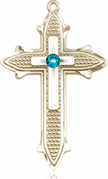 Large 14kt Gold Birthstone Crystal December Zircon Double Detailed Fancy Cross Necklace by Bliss