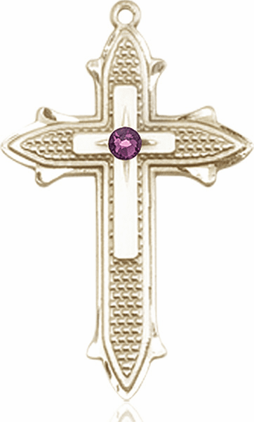 Large 14kt Gold Birthstone Crystal February Amethyst Double Detailed Fancy Cross Necklace by Bliss