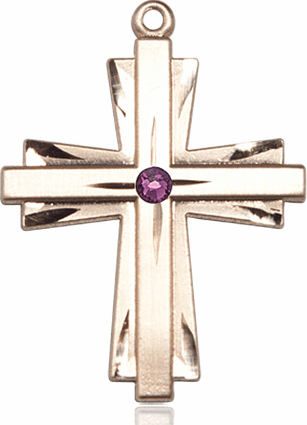 Large 14kt Gold Birthstone Crystal February Amethyst Double Etched Cross Necklace by Bliss