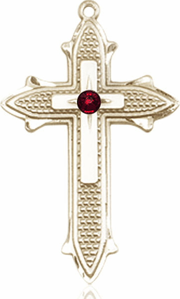 Large 14kt Gold Birthstone Crystal January Garnet Double Detailed Fancy Cross Necklace by Bliss