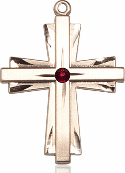 Large 14kt Gold Birthstone Crystal January Garnet Double Etched Cross Necklace by Bliss